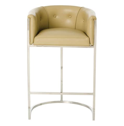 Top Grain Leather Bar Stools by Calvin Top Grain Taupe Leather Deco Barstool Kathy Kuo Home