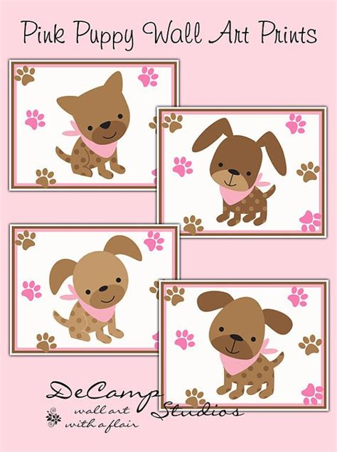 Pink And Brown Nursery Decor Pink Puppy 8x10 Wall Prints For Baby Pink And Brown Nursery Decor Puppies With