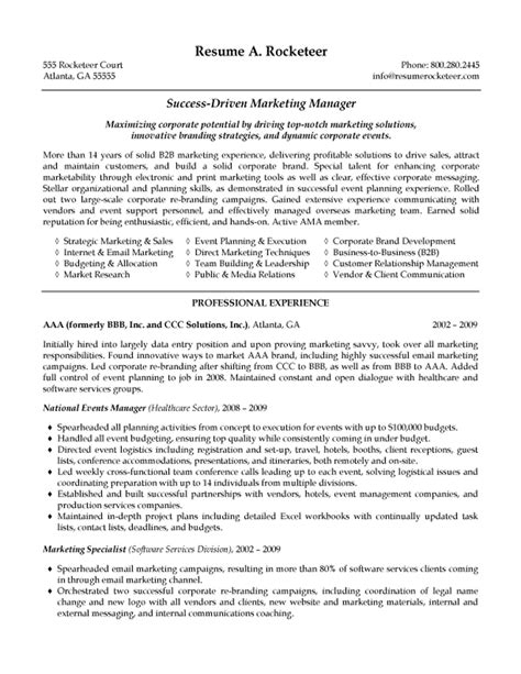 Resume Summary Exles Marketing Manager B2b Marketing Manager Resume