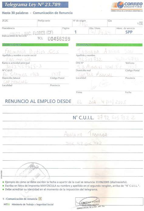 telegrama de renuncia correo argentino taringa 168 el arte de vivir 168