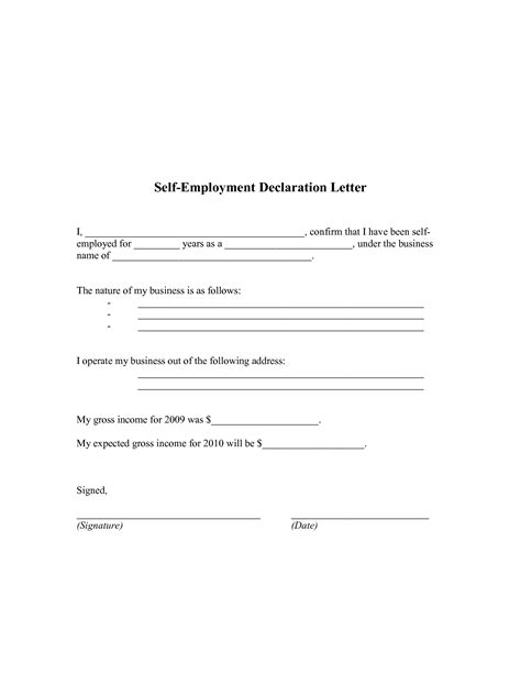 Self Employment Verification Letter Sle Best Photos Of Letter Of Declaration Template Declaration Letter Template Declaration