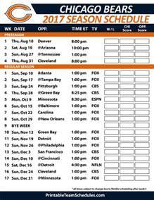 Calendario Football 2016 Printable Chicago Bears 2015 2016 Schedule Calendar