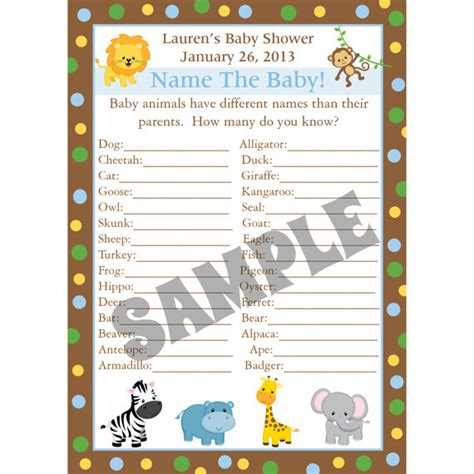 baby animal name baby shower 24 personalized baby shower baby animal name by