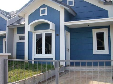 kombinasi warna rumah biru putih  gambar rumah