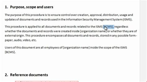 isms policy template filling in the template how to write iso 27001 iso 22301