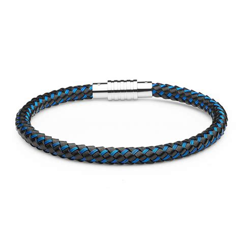 Aagaard Mens Jewelry Bracelet Blue and Black Leather   Landing Company