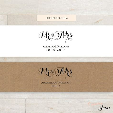 Invitation Belly Band Printable Template Wedding Belly Band Mr And Mrs Diy Editable Printable Invitation Band Template