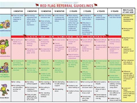 Developmental Milestones Table by Flags For Referral Professional Resources Child Development Chart Flags And