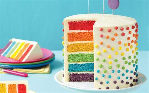 layered rainbow rainbow layer cake recipe dishmaps
