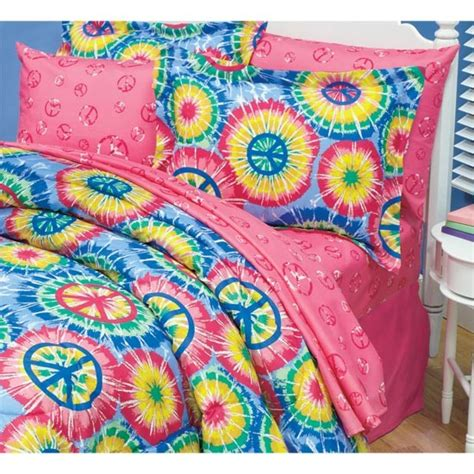 peace bedding tweens bed room tie dye peace sign bed comforter set ebay