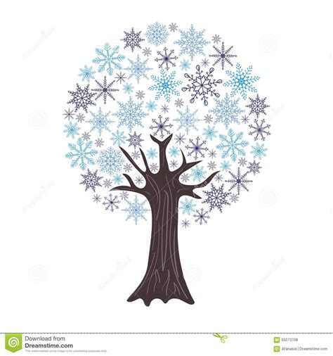 winter tree snowflakes stock vector beautiful winter tree with snowflakes as leaves isolated on white stock vector image 65073708