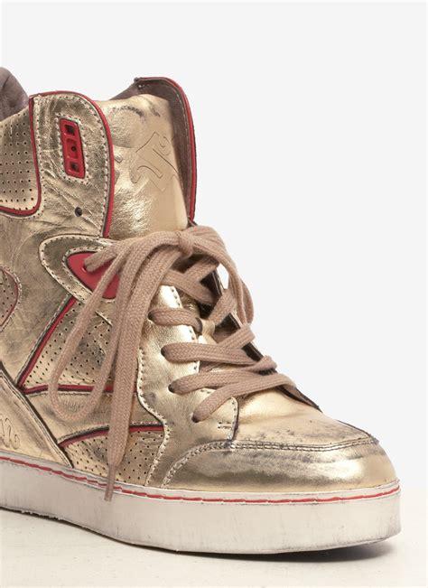 metallic sneaker wedges ash billie metallic leather wedge sneakers in metallic lyst