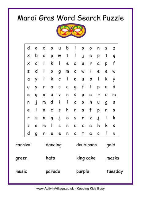 Mardi Gras Worksheets by Mardi Gras Word Search