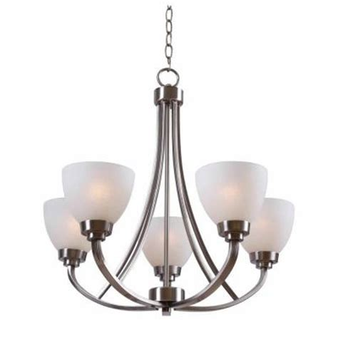 edelstahl kronleuchter hton bay hastings 5 light brushed steel chandelier