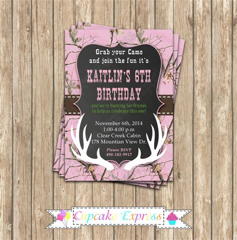 Camo Girl Hunting 6 Birthday Party Printable Invitation 5x7 Camo Invitation Templates
