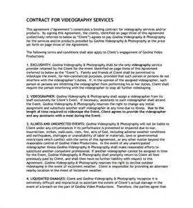 Production Contract Template by Videography Contract Template 9 Free Documents