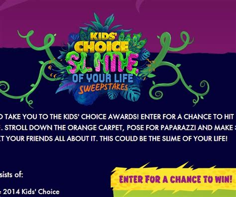 How To Sweepstakes For A Living - kids choice slime of your life sweepstakes sweeps maniac
