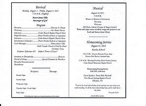 Church Homecoming Program Template Cedarbranchbaptist Gallary
