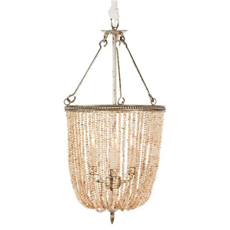 Regina Coastal Style Pink Pearls 4 Light Basket Chandelier Basket Chandelier