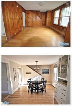 wood paneling makeover white wash knotty pine with white trim design