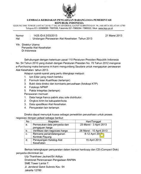 Contoh Surat Penawaran Dan Pemesanan Barang Elektronik by Undangan Penawaran Alat Kesehatan Tahun 2013 Rahfan