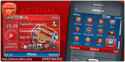 nokia c3 london themes arsenal theme for nokia c3 x2 01 themereflex