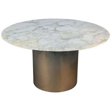 Marble Dining Table Base Knoll Arabescato Marble Top Knife Edge Dining Table On Chrome Drum Base At 1stdibs