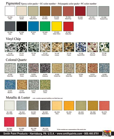 smith s decorative concrete products color charts