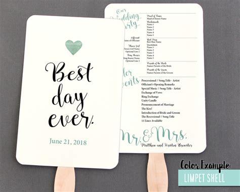 paper fan wedding programs best day wedding program fan cool colors