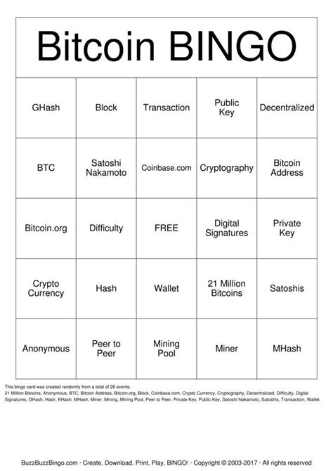 Bitcoin Bingo Cards to Download, Print and Customize!