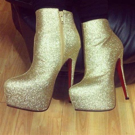 designer inspired gold glitter sparkly high heel