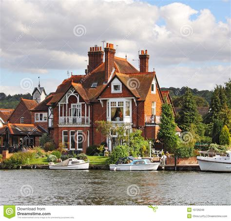 riverside houses and moorings royalty free stock images