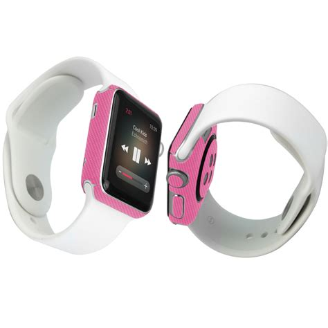 Apple 38mm skinomi techskin apple 38mm pink carbon fiber skin