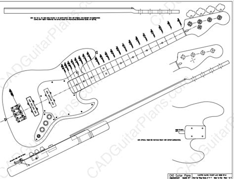 pdf jazz bass electric guitar plan fender cad guitar plans