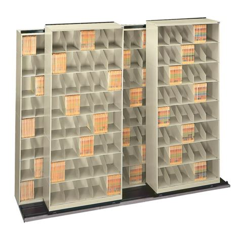 movable lateral shelving bi file high density storage