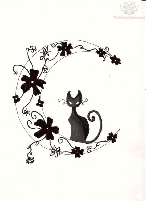 cat moon tattoo designs moon and cat design