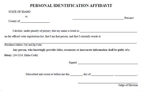 personal affidavit template idaho s voter id new to some voters boise state