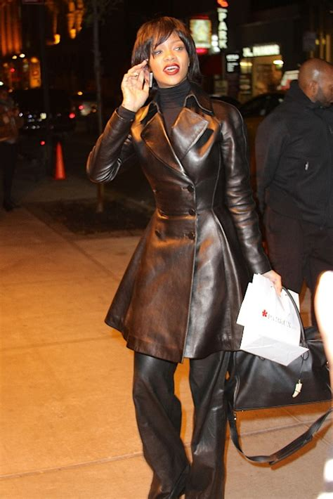 Leather Wearing Out by Rihanna In All Black Leather Lainey Gossip Lifestyle