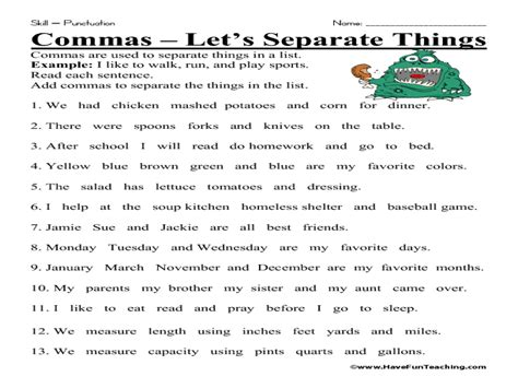 Commas In A Series Worksheets by Worksheets Using Commas In A Series Worksheet Exle