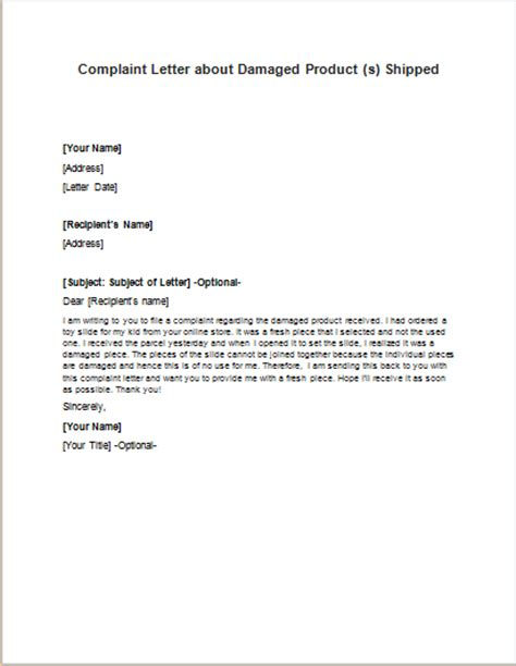 Complaint Letter About Product Sle Formal Official And Professional Letter Templates Part 11
