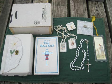 vintage girls  holy communion prayer book rosary purse card pin dogwood