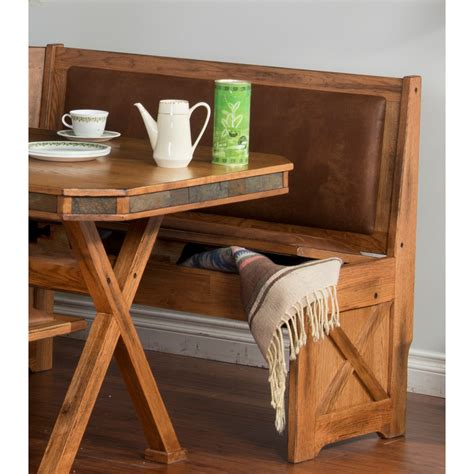custom rustic breakfast nook set with storage bench under
