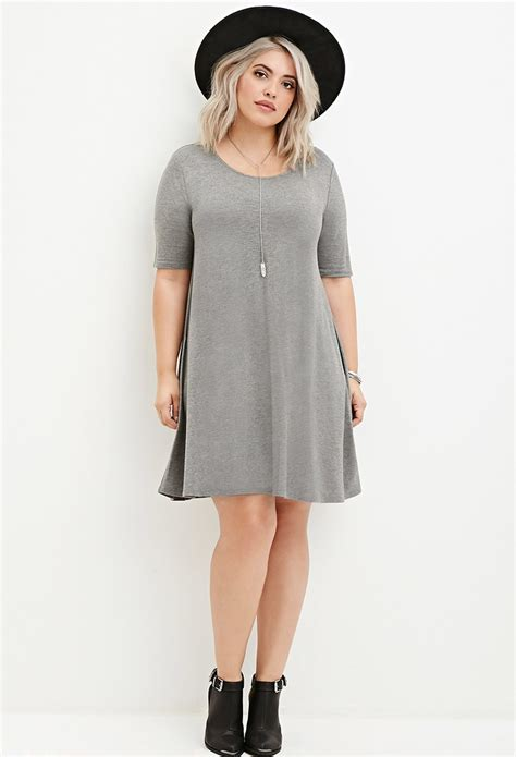 T Dress Forever 21 Plus Size Trapeze T Shirt Dress In Gray Lyst