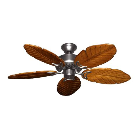42 quot tropical ceiling fan satin steel finish treated - Hawaiian Style Ceiling Fans