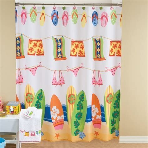 bright kids curtains bathroom window curtains surfboard bathing suit flip flop