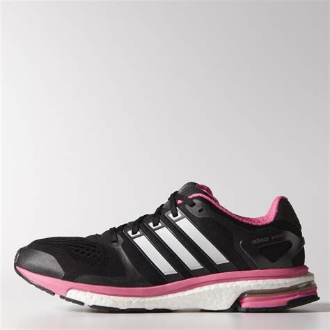 adidas womens adistar boost esm running shoes black white pink tennisnuts