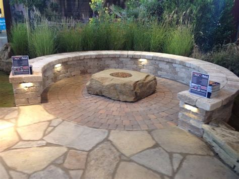 rumblestone pit quaint seating area featuring pavestone plaza pavers a