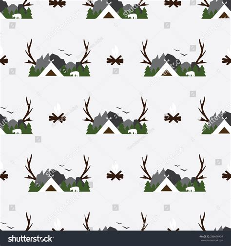 cute mountain pattern cute seamless pattern cing woods image stock vector
