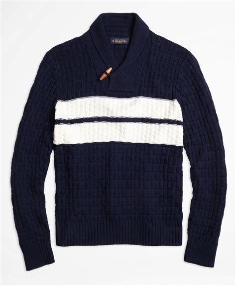 Sweater Navy brothers texture stitch chest stripe shawl collar
