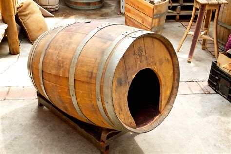 wine barrel dog house rustic pet house made from a wine barrel